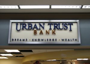 Urban Trust Bank Lobby Sign